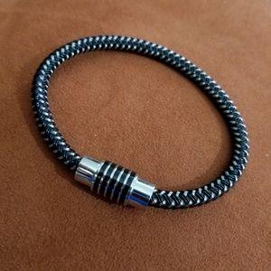 Other - Silver & Black Braided Men's Bracelet